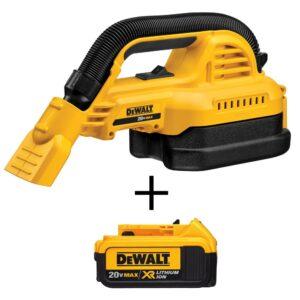 DEWALT 20-Volt 1/2 Gal. MAX Lithium-Ion Wet/Dry Portable Vacuum with Bonus 20-Volt MAX XR Li-Ion Premium Battery Pack 4.0 Ah